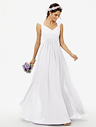 cheap -Sheath / Column Queen Anne Floor Length Chiffon / Corded Lace Bridesmaid Dress with Lace / Pleats / See Through