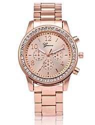 cheap -Men's Women's Fashion Watch Wrist Watch Diamond Watch Quartz Rose Gold Plated Metal Rose Gold Casual Watch Analog Luxury - Gold Silver Rose Gold One Year Battery Life