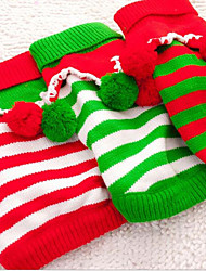 cheap -Cat Dog Sweater Christmas Winter Dog Clothes White Green Red Costume Other Material Stripes New Casual / Daily Keep Warm S M L