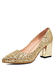 cheap -Women's Heels Chunky Heel Pointed Toe Glitter Comfort / Novelty Fall Gold / Silver / Red / Wedding / Party & Evening / Dress / 2-3 / Party & Evening