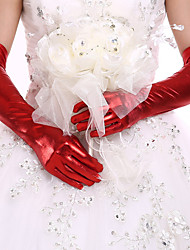 cheap -Faux Leather Opera Length Glove Bridal Gloves / Party / Evening Gloves With Rhinestone