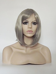 cheap -Synthetic Wig Straight kinky Straight kinky straight Asymmetrical With Bangs Wig Short Medium Length Grey Synthetic Hair Women's Natural Hairline Silver Gray