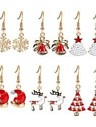 cheap -Women's Cubic Zirconia Drop Earrings Christmas Tree Zircon Gold Plated Earrings Jewelry Rainbow For Christmas New Year Six-piece Suit
