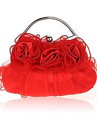 abordables -Femme Volants Soie Pochette A Fleur Rouge / Beige / Violet / Automne hiver