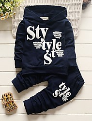 cheap -Toddler Boys' Casual Active Letter Long Sleeve Regular Regular Cotton Clothing Set Navy Blue / Cute