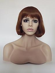 cheap -Synthetic Wig Straight kinky Straight kinky straight Bob With Bangs Wig Short Medium Length Medium Auburn Synthetic Hair Women's Natural Hairline Brown