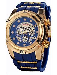 Недорогие -Муж. Коробки для часов Повседневные часы Спортивные часы Кварцевый силиконовый Pезина Черный Защита от влаги Календарь Секундомер Аналоговый Классика На каждый день -  / Два года / Нержавеющая сталь