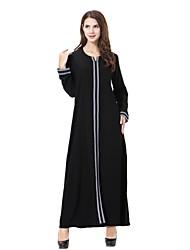 cheap -Women's Plus Size Party Loose Abaya Jalabiyah Jalabiya Dress - Solid Colored Embroidered Fall Gold Gray Purple XL XXL XXXL