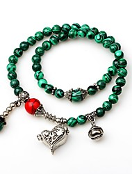 cheap -Women's Onyx Hawks Eye Stone Bead Bracelet Wrap Bracelet Heart Ladies Vintage Fashion Gemstone Bracelet Jewelry Turquoise For Gift Date