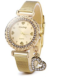 cheap -Women's Pave Watch Diamond Watch Gold Watch Quartz Stainless Steel Gold Casual Watch Analog Ladies Sparkle Heart shape Casual Fashion - Gold