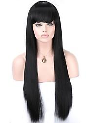 abordables -Perruque Lace Front Synthétique Droit Droite Avec Mèches Avant Lace Frontale Perruque Long Noir de Jais Cheveux Synthétiques Femme Noir EEWigs