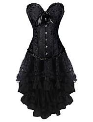 cheap -Women's Lace Up Corset Dresses - Floral Black XXL XXXL XXXXL