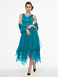 cheap -A-Line V Neck Asymmetrical Chiffon / Satin Sleeveless High Low / Two Piece Mother of the Bride Dress with Beading / Pleats 2020