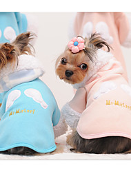 cheap -Cat Dog Hoodie Dog Clothes Print Angel Blue Pink Cotton Costume For Spring &  Fall Winter Men's Women's Casual / Daily