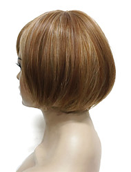 cheap -latest fashion bob short straight natural soft wig golden brown with blonde highlight