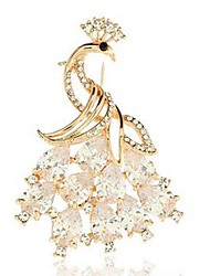cheap -Women's Crystal Brooches Animal Peacock Ladies Classic Fashion Crystal Brooch Jewelry Gold For Daily Formal
