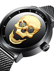 Недорогие -BIDEN Муж. Наручные часы Кварцевый Нержавеющая сталь Черный 30 m Защита от влаги Cool Череп Аналоговый Винтаж На каждый день Мода Cool - Золотой Черный