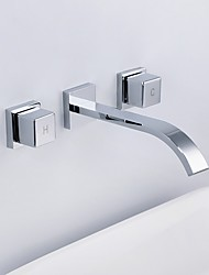 cheap -Bathroom Sink Faucet - Wall Mount Chrome Widespread Two Handles Three Holes / Brass