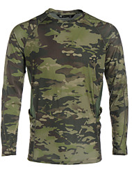 cheap -Men's Camouflage Hunting T-shirt Long Sleeve Outdoor Spring Summer Windproof Breathable Quick Dry Sweat-Wicking Camo / Camouflage Tee / T-shirt Top Camping / Hiking Hunting Fishing Cycling / Bike