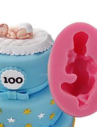 Недорогие -1шт Силикон 3D Своими руками Торты Печенье Пироги 3D Мультфильм образный Спящий ребенок Формы для пирожных Инструменты для выпечки