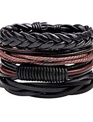 cheap -Men's Bracelet woven Statement Rock Hip-Hop Oversized PU Leather Bracelet Jewelry Black For Daily Casual