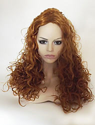 cheap -Synthetic Wig Curly Kinky Curly Kinky Curly Asymmetrical With Bangs Wig Blonde Long Strawberry Blonde Synthetic Hair Women's Natural Hairline Blonde