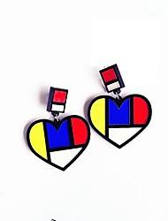 Недорогие -Жен. Серьги-кольца Сердце Милая Хип-хоп Серьги Бижутерия Радужный Назначение На выход фестиваль