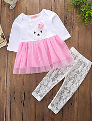 cheap -Toddler Girls' Active Punk & Gothic Color Block Embroidered Long Sleeve Long Long Cotton Clothing Set Blushing Pink