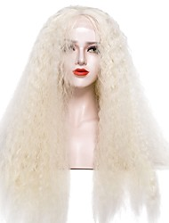 cheap -Synthetic Lace Front Wig Afro Curly Afro Kinky Lace Front Wig Blonde Long Light golden Synthetic Hair Women's Blonde EEWigs