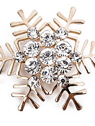 cheap -Women's Brooches Round Cut Snowflake Ladies Simple Classic Fashion Imitation Diamond Brooch Jewelry Gold Silver For Daily