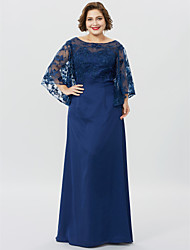 cheap -Plus Size Sheath / Column Bateau Neck Floor Length Chiffon Sheer Lace Mother of the Bride Dress with Appliques by LAN TING BRIDE®