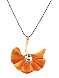 cheap -Women's Pendant Necklace Leaf Classic Fashion Imitation Diamond Alloy Orange Necklace Jewelry For Daily