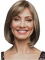 cheap -Synthetic Wig Straight Straight Bob Wig Medium Length Light Brown Synthetic Hair Women's Highlighted / Balayage Hair Brown StrongBeauty
