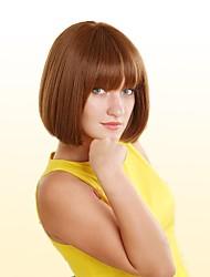 cheap -Human Hair Capless Wigs Human Hair Straight / kinky Straight Short Hairstyles 2019 Natural Hairline Medium Length Machine Made Wig Women's