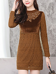 cheap -Women's Plus Size Wine Brown Dress Street chic Fall Going out A Line Patchwork S M