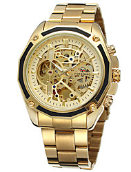 cheap -FORSINING Men's Skeleton Watch Wrist Watch Automatic self-winding Stainless Steel Silver / Gold Hollow Engraving Analog Casual Fashion - Gold / Black Gold / White White / Silver