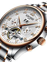 Недорогие -Муж. Нарядные часы Наручные часы Механические часы Swiss С автоподзаводом Серебристый металл 30 m Календарь Секундомер С гравировкой Аналоговый Роскошь Классика На каждый день Мода Элегантный стиль -