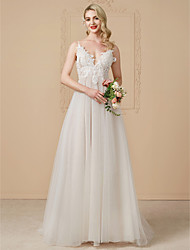cheap -A-Line V Neck Sweep / Brush Train Tulle / Beaded Lace Made-To-Measure Wedding Dresses with Lace by LAN TING BRIDE®