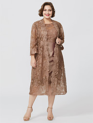 cheap -Sheath / Column Bateau Neck Knee Length Lace / Taffeta Short Sleeve Chic & Modern / Glamorous & Dramatic / Plus Size Mother of the Bride Dress with Appliques Mother's Day 2020 / Wrap Included