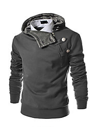 cheap -Men's Plus Size Sports Active / Basic Long Sleeve Hoodie - Solid Colored Stand Black M / Spring / Fall / Winter