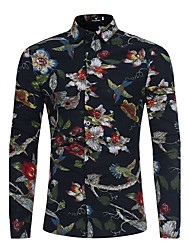 cheap -Men's Daily Weekend Cotton Slim Shirt - Floral Black / Long Sleeve