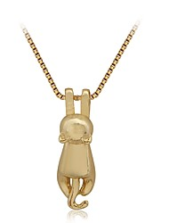 cheap -Women's Pendant Necklace Cat Animal Ladies Cartoon Alloy Gold Necklace Jewelry For Daily