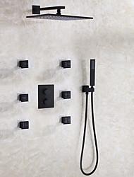 cheap -Shower Faucet - Contemporary / Modern Contemporary Black Wall Mounted Ceramic Valve Bath Shower Mixer Taps / Brass