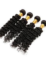 cheap -4 Bundles Brazilian Hair Deep Wave Remy Human Hair Natural Color Hair Weaves / Hair Bulk Human Hair Weaves Human Hair Extensions / Short