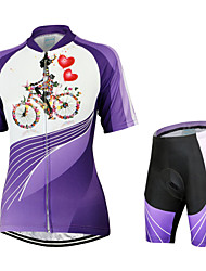 cheap -Arsuxeo Women's Short Sleeve Cycling Jersey with Shorts Floral / Botanical Bike Shorts Jersey Clothing Suit Breathable Quick Dry Anatomic Design Back Pocket Sports Polyester Elastane Floral