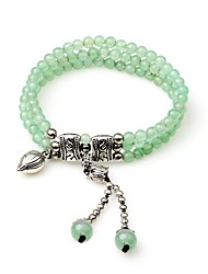 cheap -Women's Onyx Synthetic Emerald Bead Bracelet Wrap Bracelet Ethnic Fashion Crystal Bracelet Jewelry Green For Wedding Gift