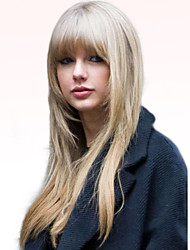 Недорогие -Человеческие волосы Парик Длинные Прямой Прямой силуэт Машинное плетение Жен. Черный Medium Auburn / Bleach Blonde Светло-рыжий 24 дюйм