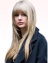 cheap -Human Hair Blend Wig Long Straight Straight Machine Made Women's Natural Black #1B Medium Auburn / Bleach Blonde Light Auburn 24 inch