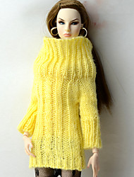 cheap -Doll Top Tops For Barbiedoll Yellow Wool Fabric Artificial Wool Top For Girl's Doll Toy / Kids