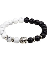 cheap -Men's Onyx Natural Stone Bead Bracelet Asian Classic Agate Bracelet Jewelry White / Black / Brown For Evening Party Going out
